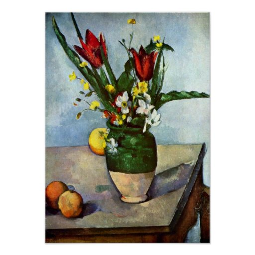 Still Life, Tulips and Apples by Paul Cezanne