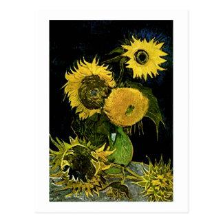 Still Life Vase Five Sunflowers Van Gogh Fine Art Postcard