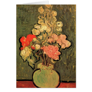 Still Life Vase Rose-Mallows Van Gogh Fine Art Greeting Card