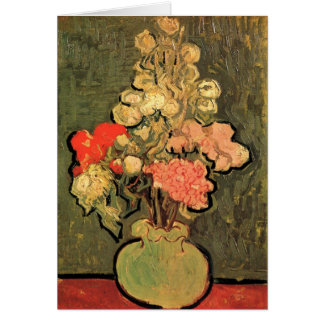 Still Life Vase With Rose Mallows by van Gogh 1890 Greeting Card