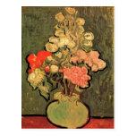 Still Life Vase With Rose Mallows by van Gogh 1890 Postcard