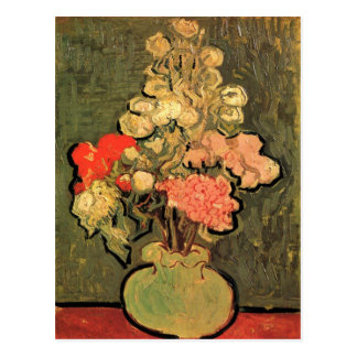 Still Life Vase With Rose Mallows by van Gogh 1890 Postcard