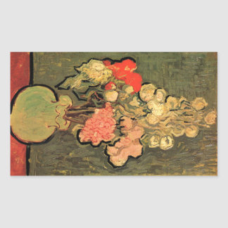Still Life Vase With Rose Mallows by van Gogh 1890 Rectangular Sticker