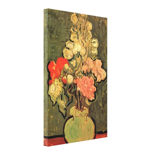 Still Life Vase with Rose-Mallows by van Gogh Stretched Canvas Prints