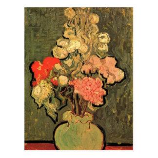 Still Life Vase with Rose-Mallows by Van Gogh Postcard