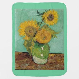 Still Life - Vase with Three Sunflowers Van Gogh Stroller Blanket