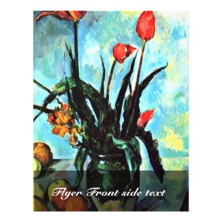 Still Life Vase With Tulips By Paul Cézanne 21.5 Cm X 28 Cm Flyer