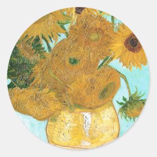 Still Life - Vase with Twelve Sunflowers van Gogh Round Sticker