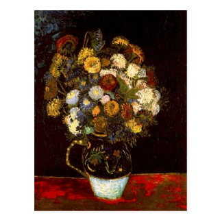 Still Life Vase with Zinnias Van Gogh Fine Art Postcard