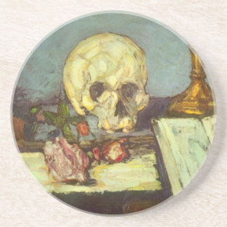Still Life w Skull, Candle, Book By Paul Cezanne Beverage Coaster