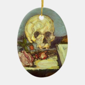 Still Life w Skull, Candle, Book By Paul Cezanne Ceramic Oval Decoration