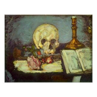 Still Life w Skull, Candle, Book By Paul Cezanne Poster