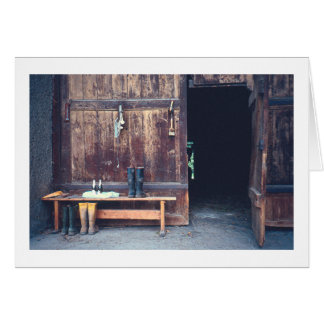 STILL LIFE/ WEATHERED BARN/BOOTS/COLD DRINKS/BENC CARD