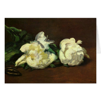 Still life, white peonies - Edouard Manet Card