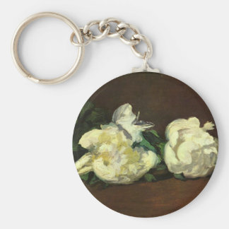 Still Life White Peony by Manet Basic Round Button Key Ring