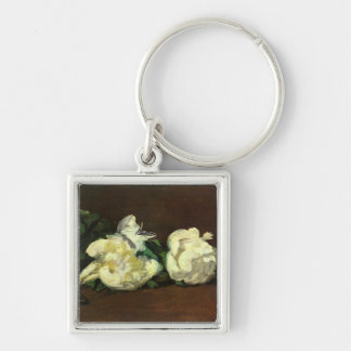 Still Life White Peony by Manet Silver-Colored Square Key Ring