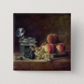 Still Life with a Basket of Peaches 15 Cm Square Badge