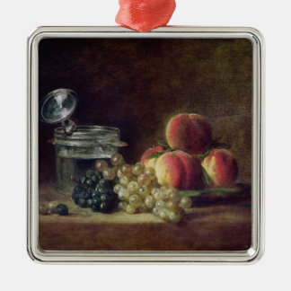 Still Life with a Basket of Peaches Silver-Colored Square Decoration