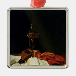 Still life with a Bible, 1821 Silver-Colored Square Decoration