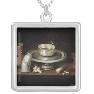 Still Life with a Bowl of Chocolate Silver Plated Necklace