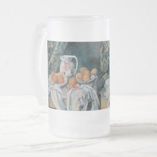 Still Life with a Curtain by Paul Cezanne Frosted Glass Beer Mug
