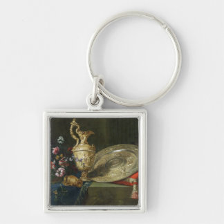 Still Life with a Gilded Ewer Silver-Colored Square Key Ring