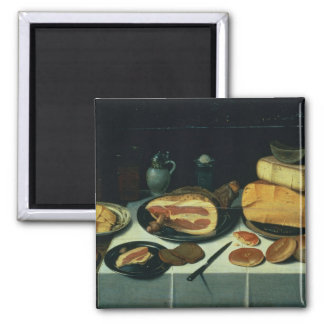 Still Life with a Ham (oil on panel) Square Magnet