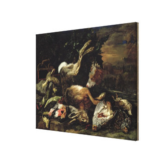 Still Life with a Hare, Song Birds and a Bird Net Canvas Print