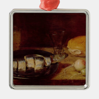 Still Life with a Herring Silver-Colored Square Decoration
