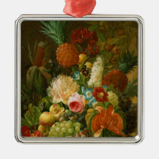 Still Life with a Melon and Grapes Silver-Colored Square Decoration