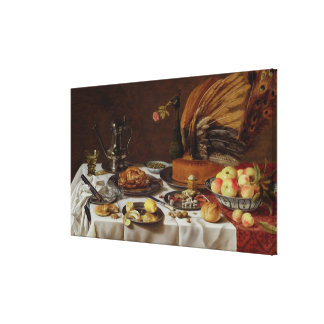 Still Life with a Peacock Pie, 1627 Canvas Print