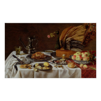 Still Life with a Peacock Pie, 1627 Poster
