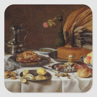 Still Life with a Peacock Pie, 1627 Square Sticker