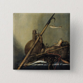 Still Life with a Pitcher and Crustaceans 15 Cm Square Badge