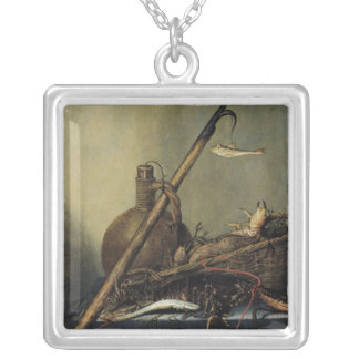 Still Life with a Pitcher and Crustaceans Silver Plated Necklace