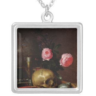Still Life with a Skull Silver Plated Necklace