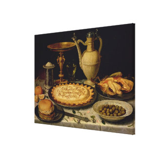 Still life with a tart,chicken, bread and olives stretched canvas prints