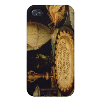 Still life with a tart,chicken, bread and olives cases for iPhone 4