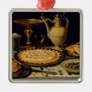 Still life with a tart,chicken, bread and olives christmas ornament