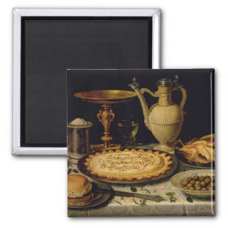 Still life with a tart,chicken, bread and olives magnet