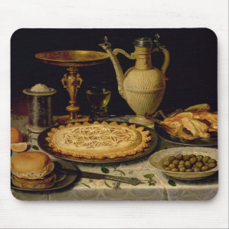 Still life with a tart,chicken, bread and olives mouse mat