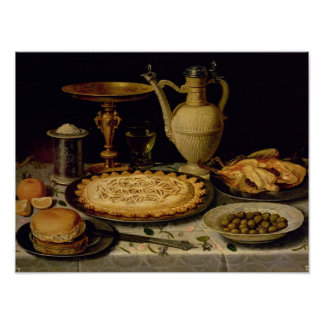 Still life with a tart,chicken, bread and olives poster