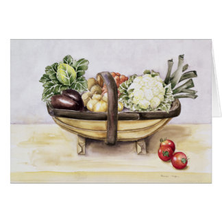 Still life with a trug of vegetables 1996 card