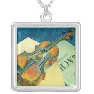 Still Life with a Violin, 1921 Square Pendant Necklace