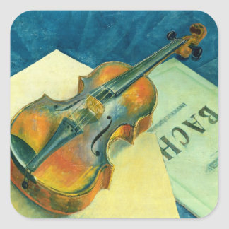 Still Life with a Violin, 1921 Square Sticker