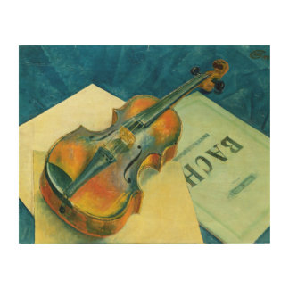 Still Life with a Violin, 1921 Wood Print