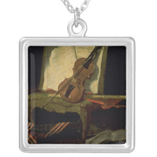 Still Life with a Violin Silver Plated Necklace