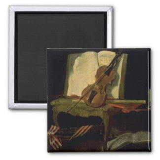 Still Life with a Violin Square Magnet
