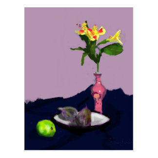 Still Life with Alstroemerias impressionist art Postcard