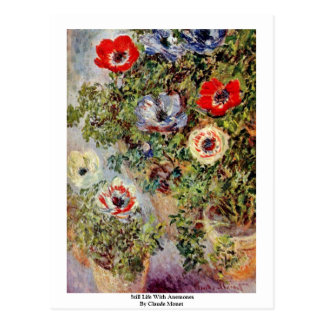 Still Life With Anemones By Claude Monet Postcard